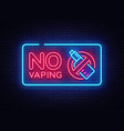 no vaping neon sign template light banner vector image