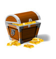 old pirate chest full of gold bars vector image