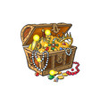 opened treasure chest full of golden coins vector image vector image