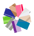 Pile of Credit Cards on White Background vector image