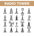 radio towers and masts linear icons set vector image vector image