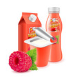 raspberry yogurt packagings 3d photo realistic vector image vector image