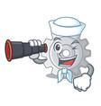 sailor with binocular gear settings mechanism on vector image