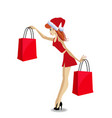 santa girl character in red dress and santa hat vector image
