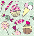 seamless pattern with cartoon cute candies vector image