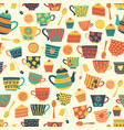 seamless retro tea cup background beige vector image