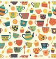 seamless retro tea cup background beige vector image vector image