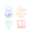 set lunch emblems in sketch style hand vector image vector image