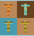 set of native traditional totem pole vector image vector image