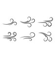 set wind blow line icons vector image
