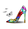 Shoe with butterflies vector image vector image