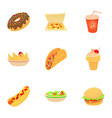 snack icons set cartoon style vector image vector image