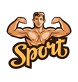 strong muscular man flexes hands vector image vector image