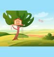 stylized bright summer rural fields sunny vector image vector image