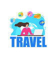 traveling agency services flat banner vector image vector image