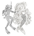 underwater mermaid and diver in zentangle style vector image vector image