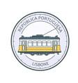 vintage tram lisbon - symbol portugal tramway vector image vector image