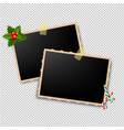 xmas retro photo frame vector image vector image