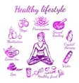 Yoga Sketch Lifestyle Composition vector image vector image