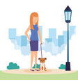 young woman with dog in the park vector image vector image