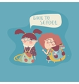 Little girls with school backpack vector image