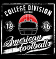 american football helmet varsity t shirt graphics vector image