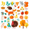autumn set yellow falling leaves forest animals vector image vector image