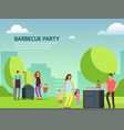 barbeque party design cartoon character families vector image vector image