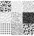 black and white patterns for valentines day vector image