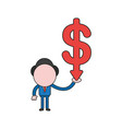 businessman character holding dollar arrow moving vector image