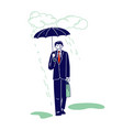 businessman character with briefcase and umbrella vector image vector image