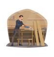 carpenter man at work carpentry woodwork tools vector image vector image