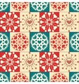 Christmas seamless pattern of heart snowflakes vector image