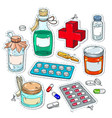 comic style icons of medical drugs bottles of vector image