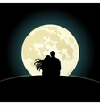 couple on a hill sitting under moonlight vector image