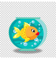 cute cartoon goldfish in fishbowl isolated on vector image