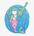 Cute mermaid woman underwater with plants and