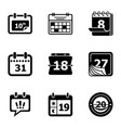 day planner icons set simple style vector image vector image