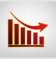 declining graph sign red icon on gold vector image vector image