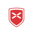 design red shield with white cross isolated on vector image vector image