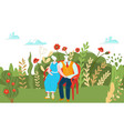 elderly character couple resting outdoor park vector image vector image