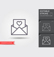 envelope with heart line icon with editable vector image