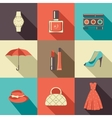 Flat icons with accessories vector image vector image