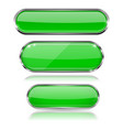green glass 3d buttons with chrome frame oval vector image vector image