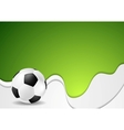 Green wavy soccer background with ball vector image vector image