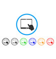 hand pointer tablet rounded icon vector image vector image