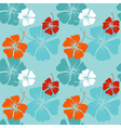 hibiscus pattern in blue vector image vector image