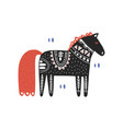 horse with folk decoration flat vector image