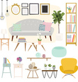 Living room Furniture and Home Accessories vector image vector image