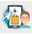 man smartphone shopping online vector image
